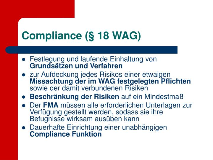 Compliance (§ 18 WAG)