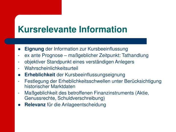 Kursrelevante Information