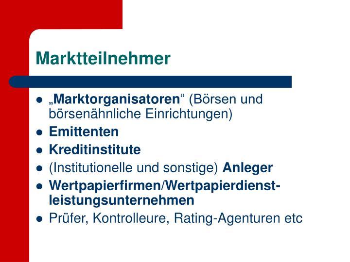 Marktteilnehmer