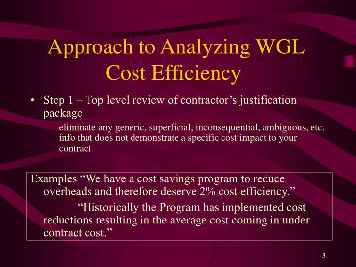 Approach to Analyzing WGL Cost Efficiency