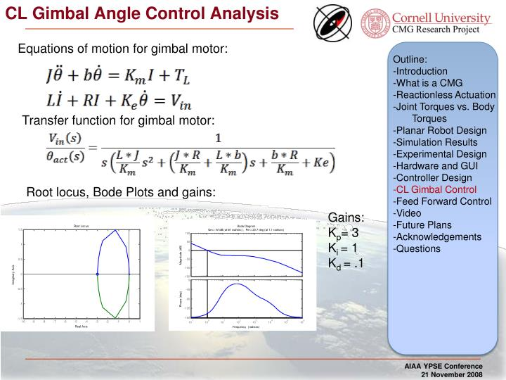 CL Gimbal Angle Control Analysis