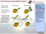 joint torques versus body torques