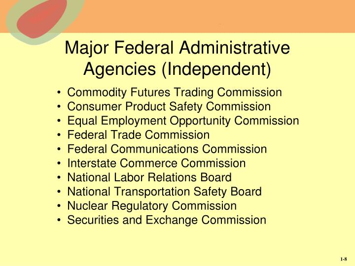 Major Federal Administrative Agencies (Independent)