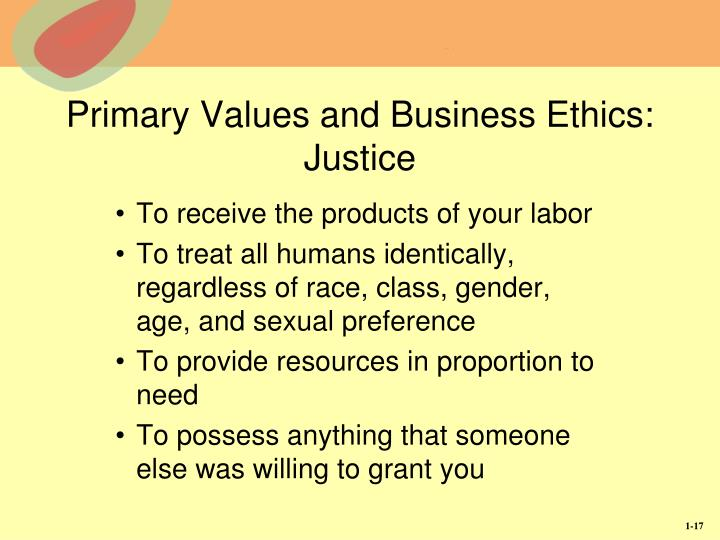 Primary Values and Business Ethics:  Justice