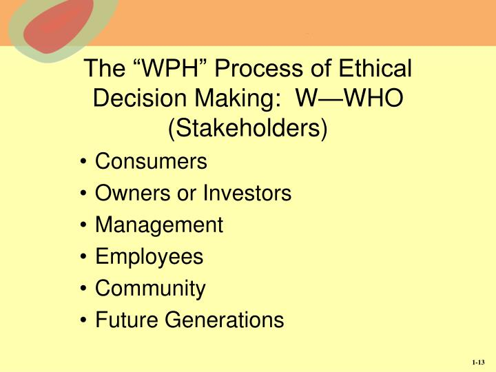 "The ""WPH"" Process of Ethical Decision Making:  W—WHO (Stakeholders)"
