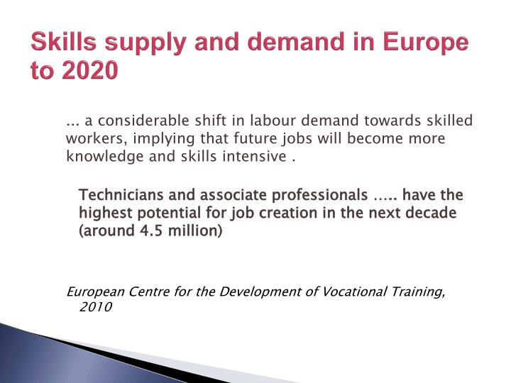 Skills supply and demand in Europe to 2020