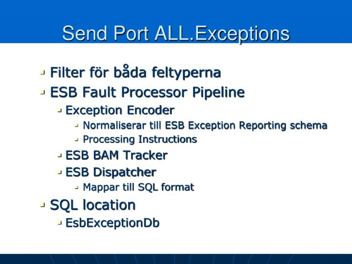 Send Port ALL.Exceptions