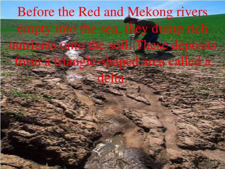 Before the Red and Mekong rivers empty into the sea, they dump rich nutrients onto the soil. These deposits form a triangle-shaped area called a delta.
