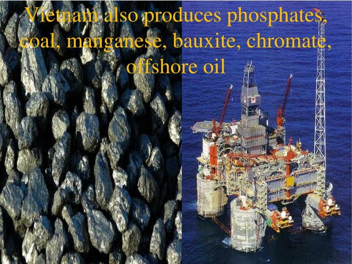 Vietnam also produces phosphates, coal, manganese, bauxite, chromate, offshore oil