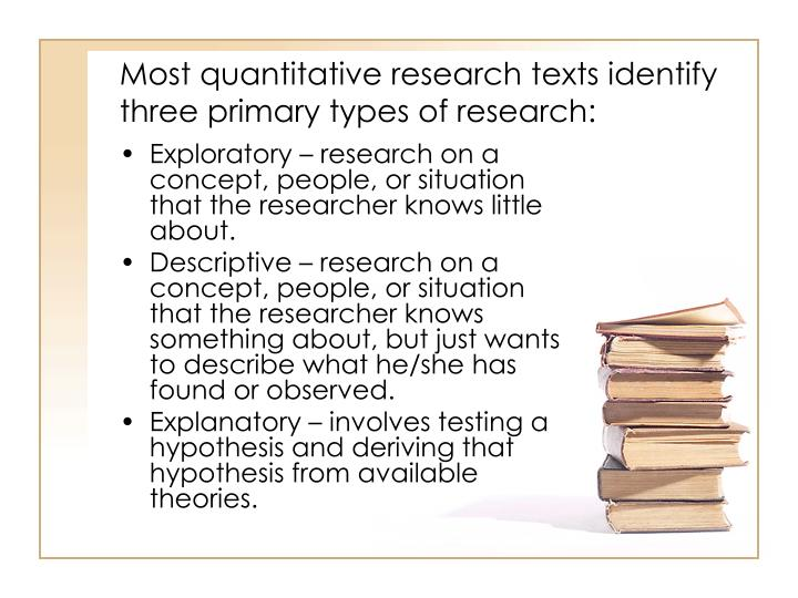 Most quantitative research texts identify three primary types of research
