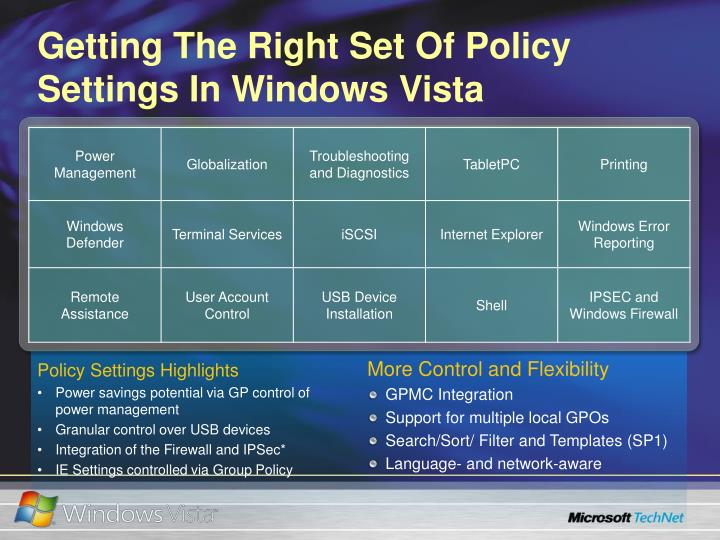 Getting The Right Set Of Policy Settings In Windows Vista