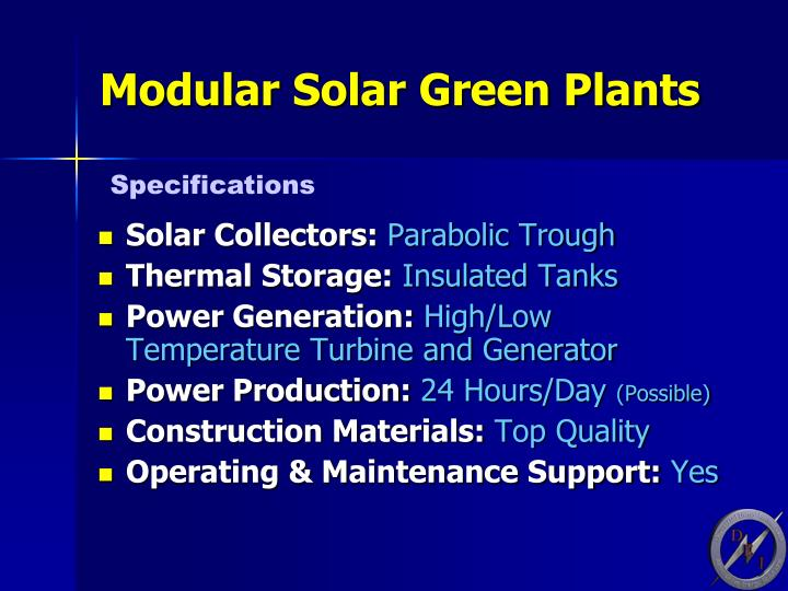 Modular Solar Green Plants
