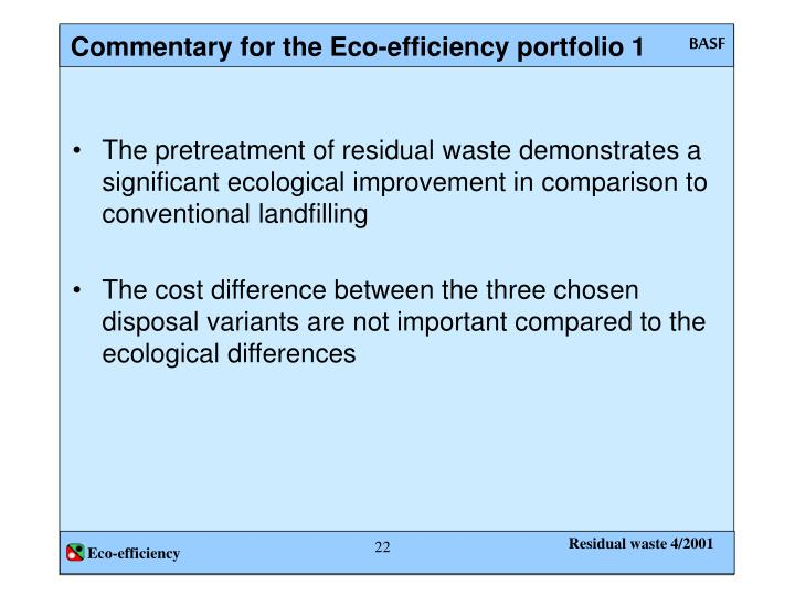 Commentary for the Eco-efficiency portfolio 1