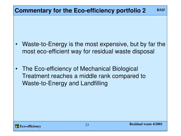 Commentary for the Eco-efficiency portfolio 2