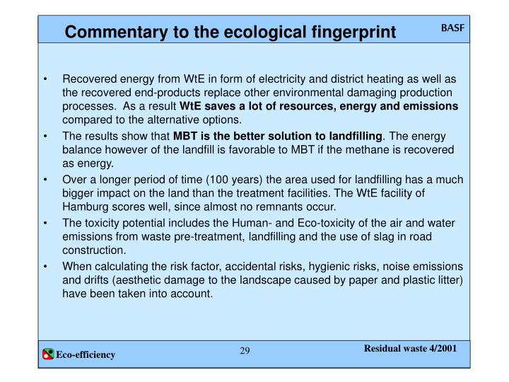 Commentary to the ecological fingerprint