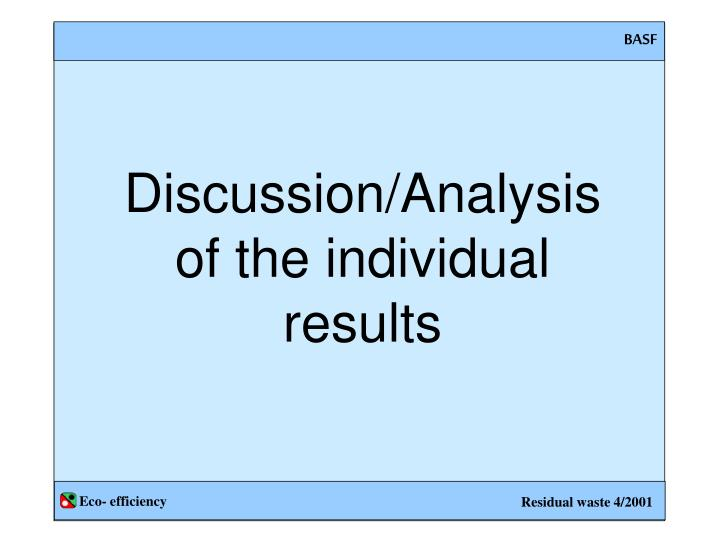 Discussion/Analysis of the individual results