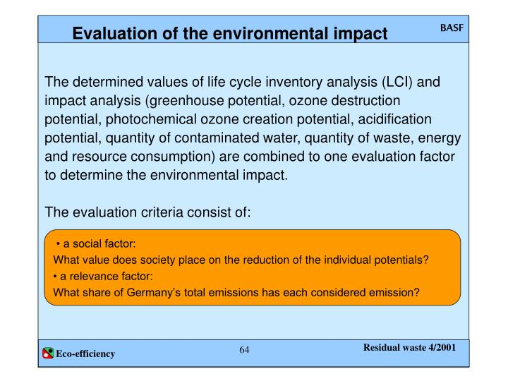 Evaluation of the environmental impact