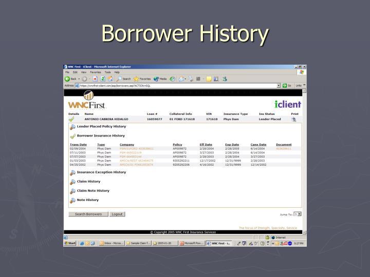 Borrower History