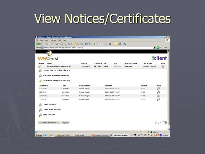 View Notices/Certificates