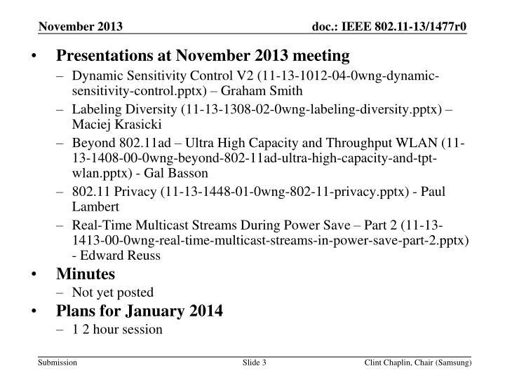 Presentations at November 2013 meeting