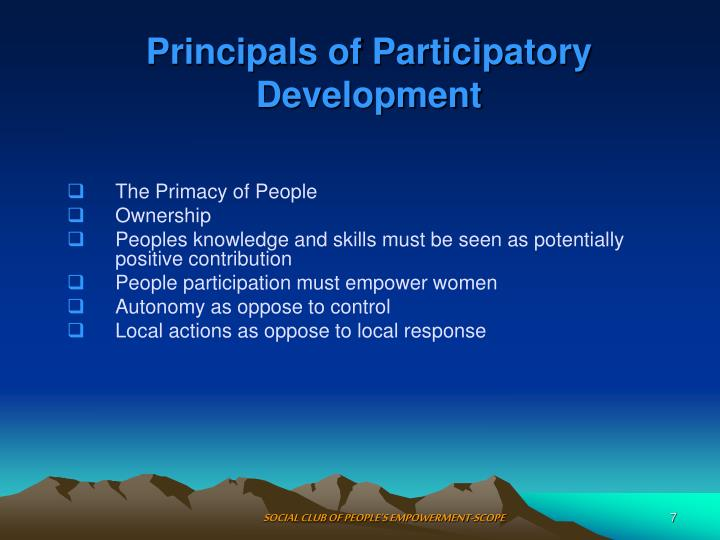 Principals of Participatory Development