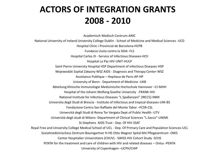 ACTORS OF INTEGRATION GRANTS