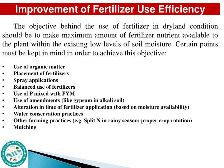 Improvement of Fertilizer Use Efficiency