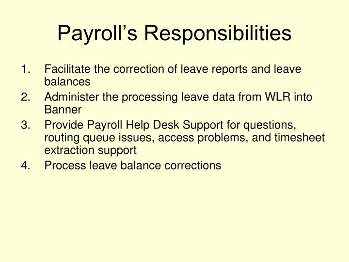 Payroll's Responsibilities