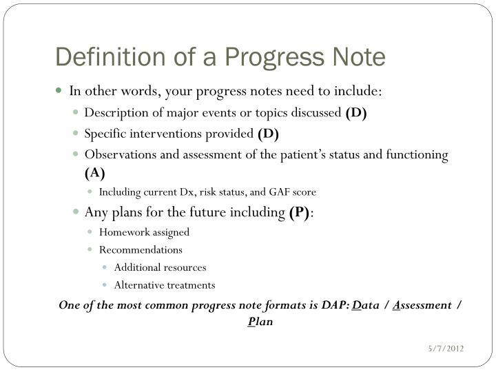 Ppt - Writing Progress Notes Powerpoint Presentation - Id:6780515