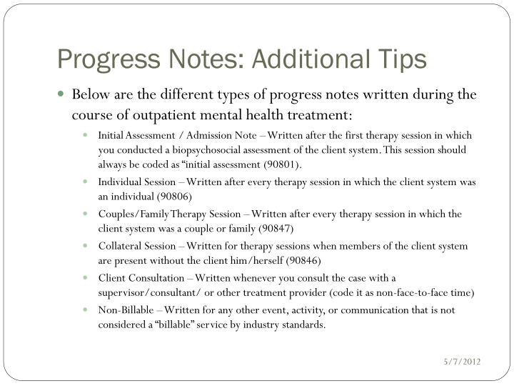how to write a good progress note