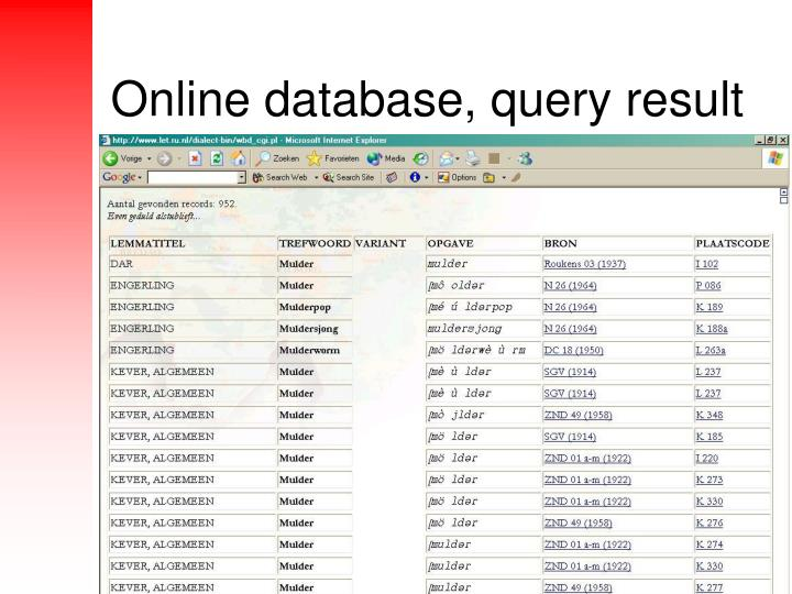 Online database, query result