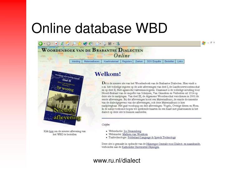 Online database WBD