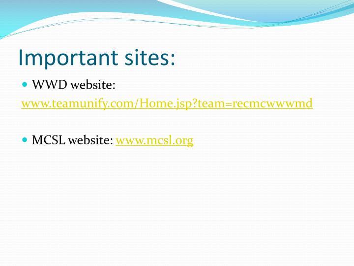 Important sites:
