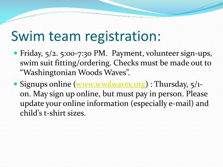 Swim team registration: