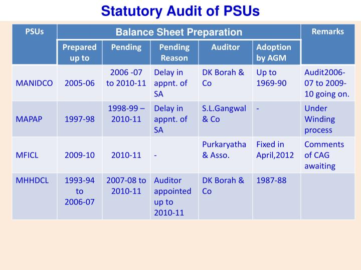 Statutory Audit of PSUs