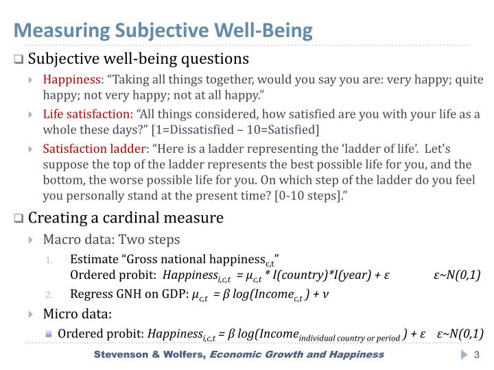 Measuring subjective well being