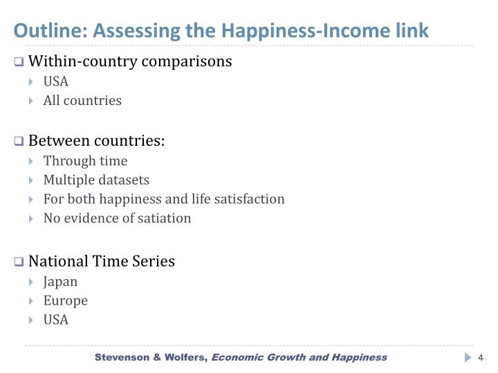 Outline: Assessing the Happiness-Income link