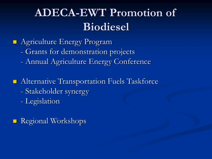 ADECA-EWT Promotion of Biodiesel