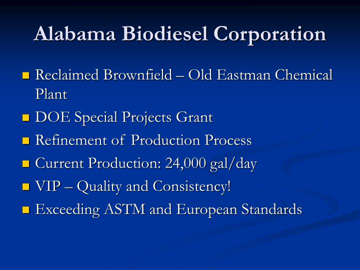Alabama Biodiesel Corporation