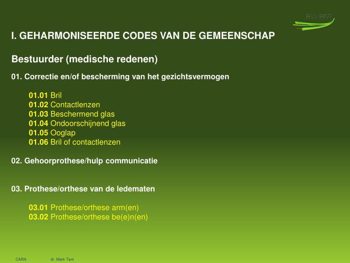 I. GEHARMONISEERDE CODES VAN DE GEMEENSCHAP