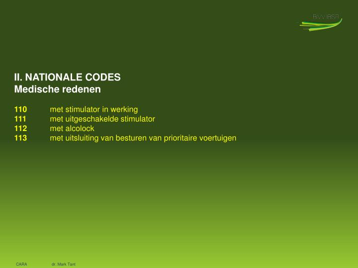 II. NATIONALE CODES