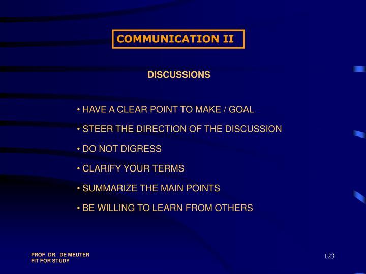 COMMUNICATION II