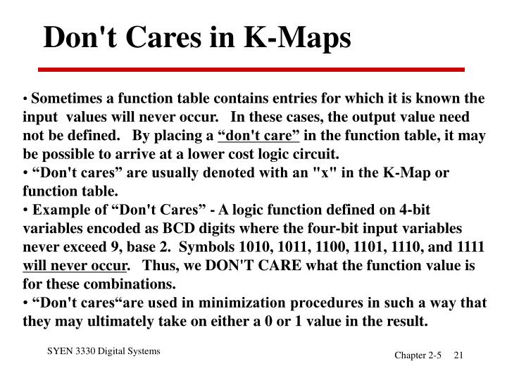 Don't Cares in K-Maps