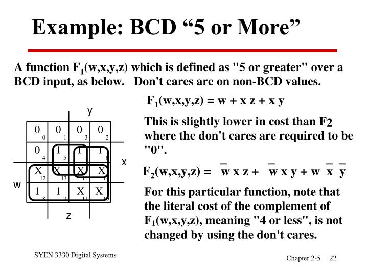 "Example: BCD ""5 or More"""