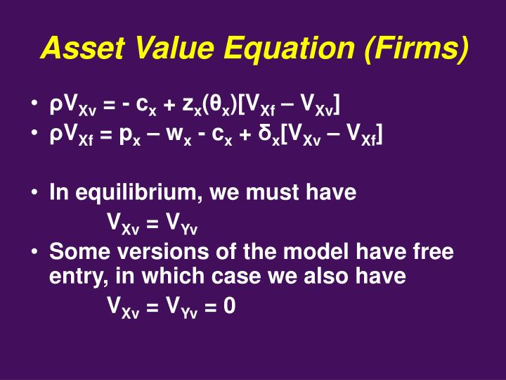 Asset Value Equation (Firms)