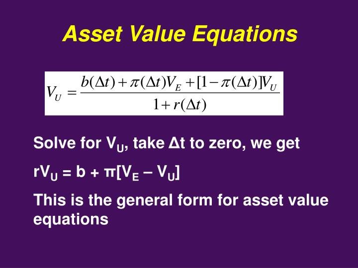 Asset Value Equations