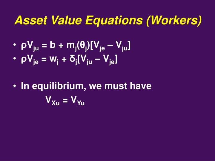 Asset Value Equations (Workers)