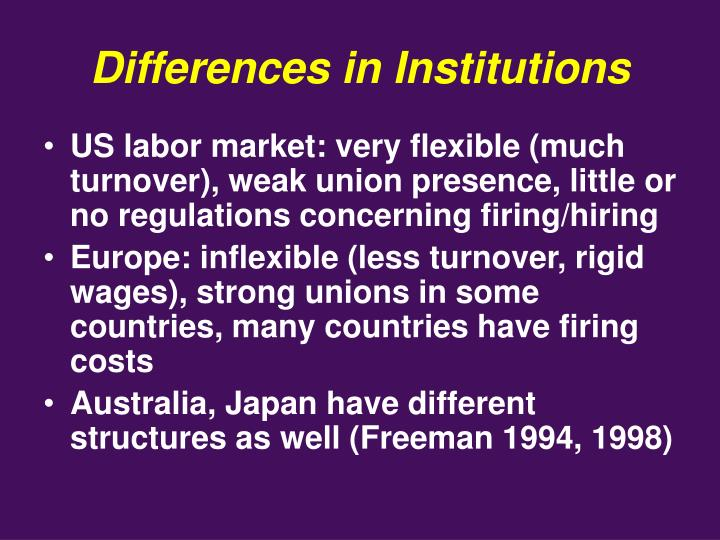 Differences in Institutions