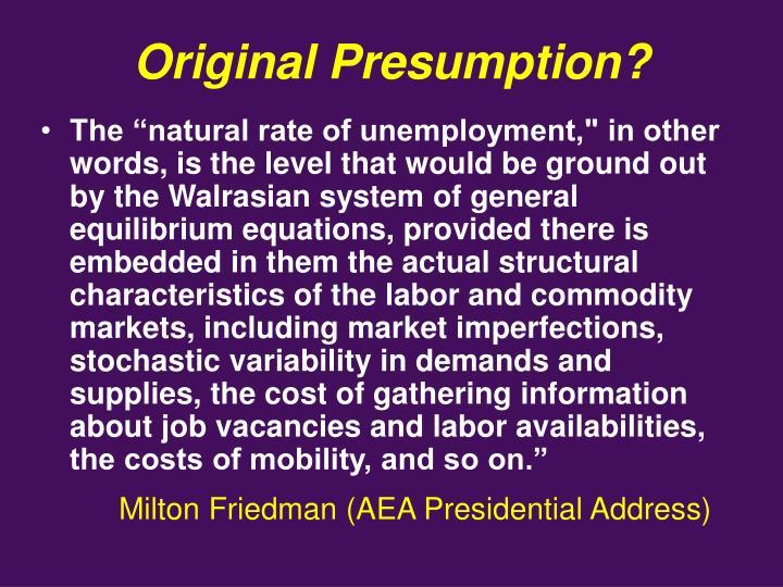Original Presumption?