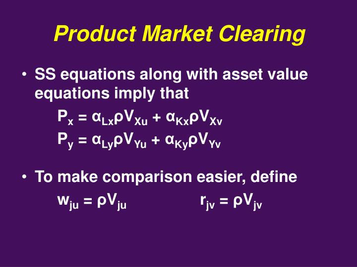 Product Market Clearing